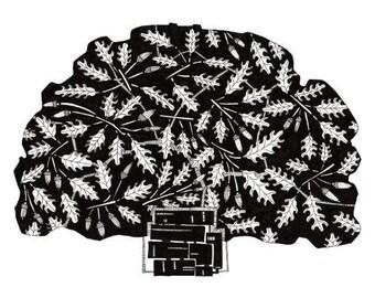 OAK TREE, black and white,