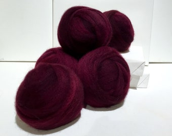 Merlot wool roving, Spinning fiber, Needle Felting, wine red roving,  red violet, deep wine, reddish purple roving, Saori weaving