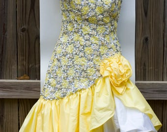 Vintage 80s Yellow Alyce Designs Dress Pageant Drag Prom One Shoulder Sequins Sz 6