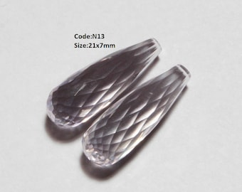 1 Pair Natural Pink Amethyst Micro Faceted Elongated Teardrop Briolettes Size 21x7mm - 26x9mm Finest Quality Great Price