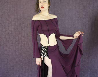 Lace up Flow Skirt in Organic Amethyst Purple Fabric, Belly Dance Pleasure, Festival Lover, Playa Play, Witches Best Friend