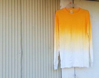 Golden Yellow Ombre // Dip Dye // Smooth Fade Long Sleeve Tee