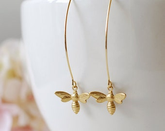 Gold Bee Earrings. Honey Bee Long Dangle Earrings. Bee Jewelry. Spring Summer, Christmas gift for women mom girlfriend wife daughter