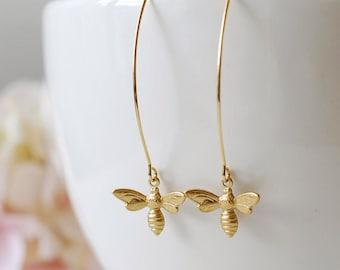 Gold Bee Earrings. Honey Bee Long Dangle Earrings. Bee Jewelry. Spring Summer, Christmas gift for women mom girlfriend wife daughter