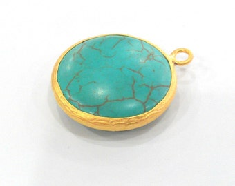 Gold Pendant Turquoise  Pendants , Gold Plated  Bezel   G908