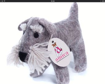 Cute Felt Schnauzer - Hand made.