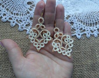 """tatting jewelry Jewellery Earrings """"Arrow"""" Chandelier Earrings Jewellery Earrings Tatting Lace Weddings tatted jewelry"""