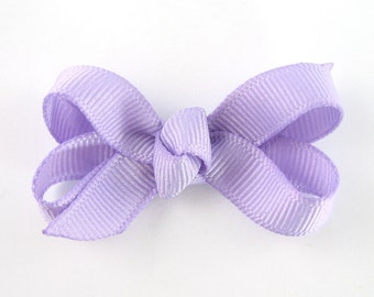 Lavender Baby Hair Bow - Extra Small Boutique Bow On Mini Snap Clip - Hair Clip for Fine Hair Newborn to Toddler - Light Purple mm