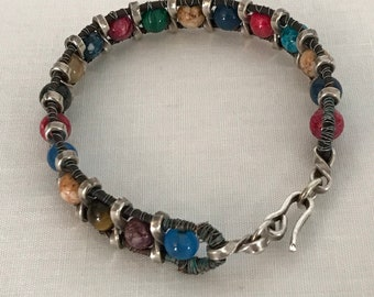 Multi color stone bead bracelet