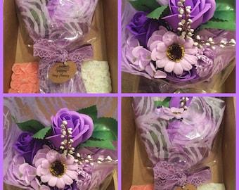 Beautiful Bath Bouquet & Soy Wax Bar Gift Set