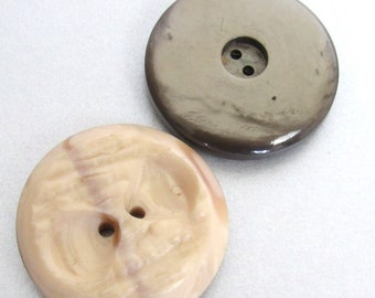 2 Extra Large Pearly Vintage Buttons