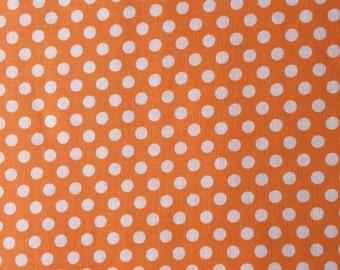 Orange Dot Fabric - Michael Miller Apricot Kiss Dot Fabric - Orange and White Polka Dot Material