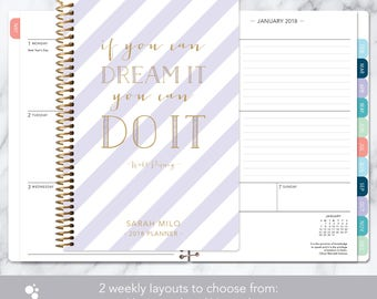 2018 planner | 2018-2019 calendar | weekly student planner add monthly tabs | personalized planner agenda | lavender gold stripes quote