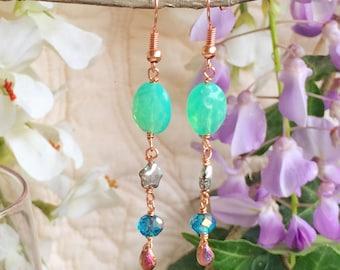 Mint green silver copper and blue little star earrings