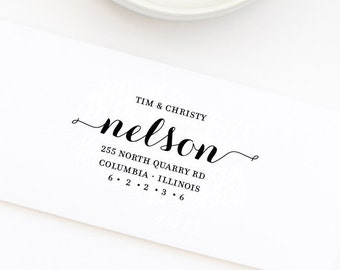 Return Address Stamp, Custom Address Stamp, Wedding Stamp, Self-Inking Stamp, Personalized Address Stamp, First and Last Name, Style No. 60