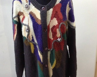 Trendy Women's Grandma 80/90s Sparkly Abstract Cardigan Oversize Slouchy Size 42