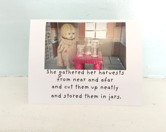 Funny Canning Card Gathered Her Harvests Adventures Claudia Preserving Food Notecard