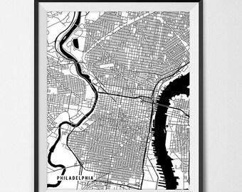 Map of philadelphia pennsylvania art print philadelphia map print philadelphia poster of pennsylvania map of philadelphia print gift pa map philadelphia freerunsca Gallery