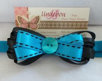 Turquoise and Black baby headband - Dressy Turquoise and Black Headband - Turquoise Baby Headband - Blue Headband