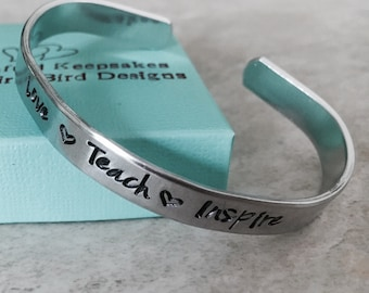 Sale personalized teacher bracelet love teach inspire custom cuff bracelet monogrammed teacher appreciation gift end of school year gift