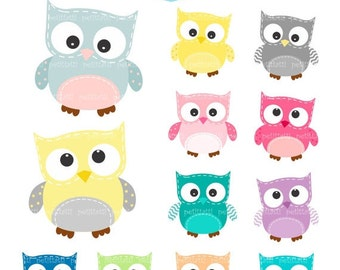 ON SALE owls Digital clipart - 12 Owls, owls clipart, pink, blue, yellow and grey owl, INSTANT Download