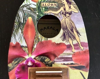 NEW! ALOHA FRIDAY, Hawaii, Collector's Item, Hand-Collaged Makala Ukulele, Tropical, Playable Art, Collage, Flower, Ocean, Surf, Surf Art