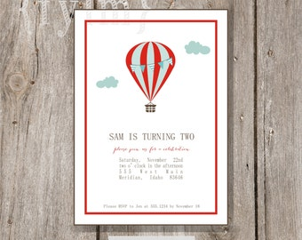 HOT AIR BALLOON Party Printable Party Invitations - I design - you print
