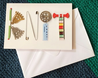 Knitting themed image greetings card. Row counters. Needle gauges. Vintage knit card. Knitting Lovers. Yarn Lovers. Knitting collage print.