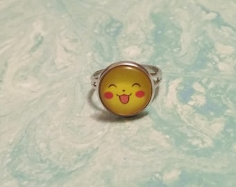 Pikachu ring, pikachu face ring, pokemon ring, pikachu jewelry, starter pokemon, pokemon jewelry, pokemon gift, pikachu gift, anime gift
