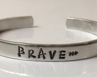 Brave Bracelet with Arrow, Hand Stamped, Initials