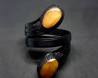 Snake shape black Leather bracelet with natural Baltic amber