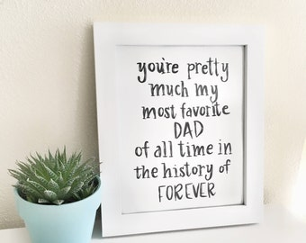 Favorite dad, Dad gift, Gift for dad, Dad quote, Father's Day gift, Gift for him, Father gift, Home decor, Art and collectibles, Wall decor