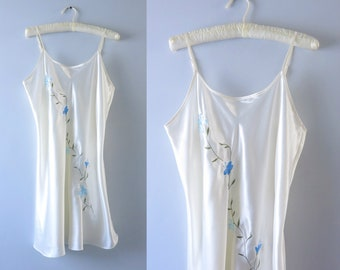 Satin Slip Dress M/L | 1980s Ivory Satin Slip Dress Nightie