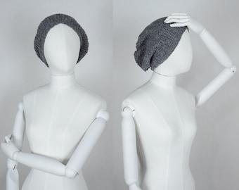 Slouch Beanie / Gray Beanie / Handmade Slouchy Hat / Crochet Beanie / Festival Beanie / Crochet Hat / Gray Hat / Handmade Hat / Crochet Cap