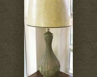Plasto Mfg Avocado Green and Gold Chalkware Mid Century Lamp with New Wiring