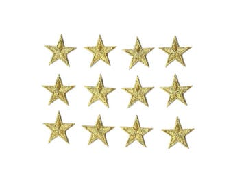ONE DOZEN - 12  - Embroidered Gold Edged Stars Iron On Patches - 1 5/8""