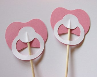 12 Pacifier cupcake toppers, pacifier food picks,  baby shower decoration