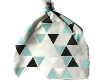 Organic Cotton Baby Hat/ Baby Knotted Hat/ Organic Cotton Hat/ Knotted Cap/ Baby Hat/ Infant Hat / Mint/Black/Gray Triangles