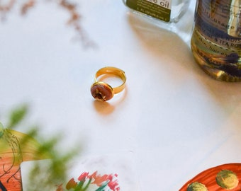 Geode Stone Adjustable Gold Ring in Burnt Orange with Gold Leaf Accents