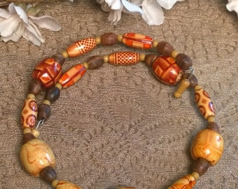 Shades of Brown Wooden Beaded Memory Wire Choker, Memory Wire Necklace