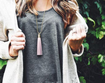 Pink Leather Tassel Necklaces