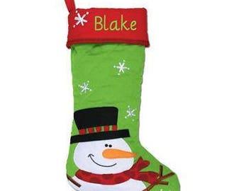 Personalized Christmas stocking, Snowman Stocking, Kids Stocking