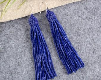 Navy Blue beaded tassel earrings, Beaded earrings in Oscar de La Renta style, long tassel beaded earrings, oscar de la renta tassel earrings