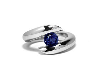 Blue Sapphire Ring Two Tone Tension Set Mounting in Stainless Steel