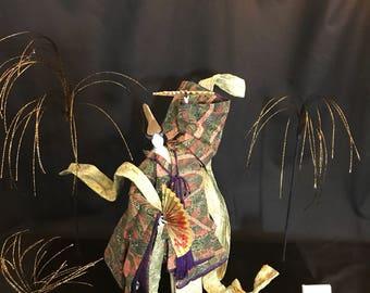 Japanese washi paper doll , Noh, Washi Ningyo