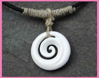 Leather Surfer Necklace With Maori Koru pendant Carved Bone New Zealand Jewelry