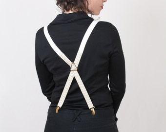 White Golden Women Suspenders Pattern