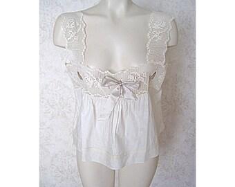 Antique Victorian Edwardian Chemise Corset Cover / Vintage White Cotton Camisole Blouse