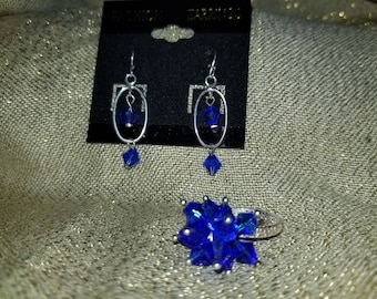 Sterling Silver Ring and Earring Set with Swarovski Crystals