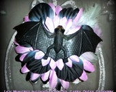 Hair Barrette: Dead Girl Decay - Lily Munster Lavendar Black Green Bat Flower Feather Burlesque Gothic Psychobilly Pinup Handmade Accessory